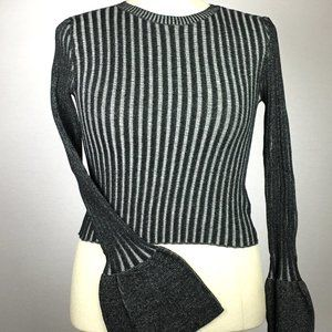 NWT Ribbed Charcoal Stretch Flared Sleeve Top.